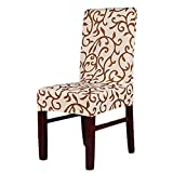 SHZONS™Super Fit Stretch Removable Washable Short Dining Chair Cover Protector Seat Slipcover for Hotel,Dining Room,Ceremony,etc.(ChampagneCoffee)