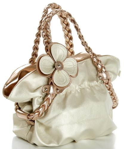 CANDICE Flower Soft Leatherette Metallic Weaved Double Handle Shoulder Bag Satchel Hobo Purse Handbag