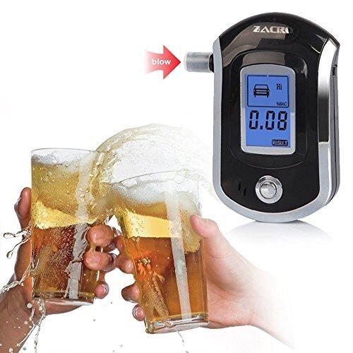 Zacro Éthylotest Numérique Alcool Testeur Professionnel avec Ecran LCD (10 Embouts Inclus pour Les Conducteurs et Les Mères Enceintes)