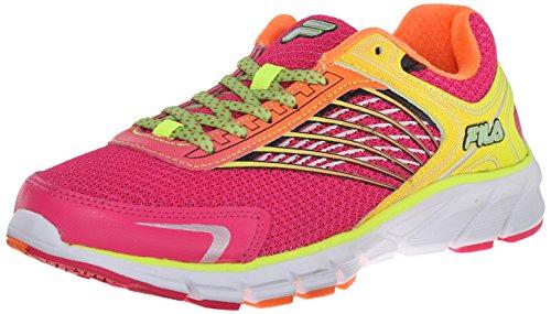 Fila Women's Memory Maranello 2 Running Shoe, Pink Glo/Shocking Orange/Safety Yellow, 9.5 M US