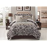 10 Pc Zebra Comforter Set Bed In A Bag Queen Size Bedding By Plush C Collection