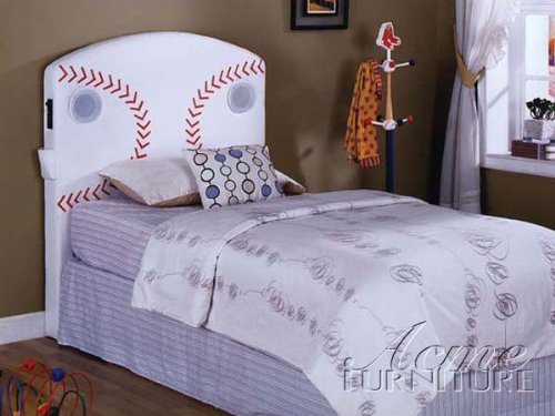 Cheap Twin Size Kids Youth Headboard with Speakers in Baseball Design (B003UTSADC)