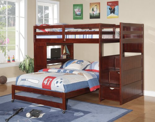 Twin Over Full Bunk Bed with Desk 500 x 394