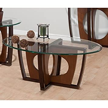 Jofran Elipse Oval Wood and Glass Coffee Table in Cherry