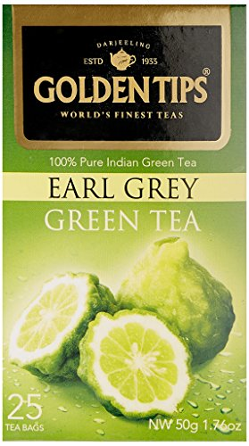 Golden Tips Darjeeling Earl Grey Green Tea, Tea Bags, 25-Count Boxes, (Pack Of 12)