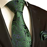 Best  Necktie Set 2pcs. Tie & Handkerchief by Paul Malone green blue paisley wedding tie for men