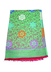 Maira Women's Pashmina Shawls & Stoles Green Colour