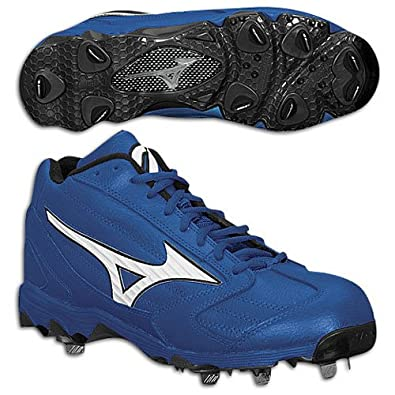 Mizuno Classic Mid G4 Metal Baseball Cleats, Royal/White, 14