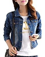 Yasong Women Girls Slim Fitted Button up Long Sleeve Vintage Denim Light Wash Faded Bomber Biker Cropped Jean Jacket