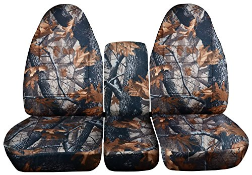 1994 to 2002 (2nd Gen) Dodge Ram Camo Truck Seat Covers (40/20/40 Split Bench) with Console Cover - Front: Gray Real Tree (16 Prints Available) (Real Tree Truck Seat Covers compare prices)