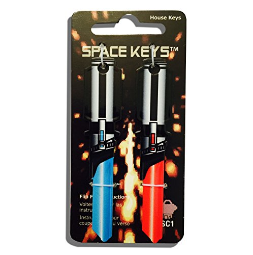 2 Red and Light Blue Saber Shaped Space Keys Schlage SC1