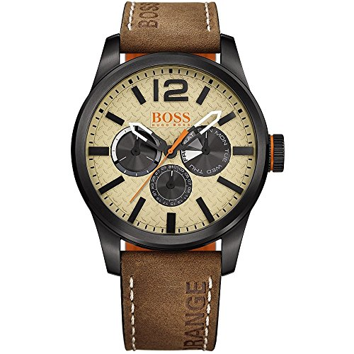 Hugo Boss Orange Men's 44mm Brown Leather Band IP Steel Case Quartz Beige Dial Analog Watch 1513237