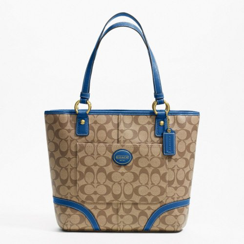 Coach Peyton Tote F18917 (B4/Khaki/Cobalt)
