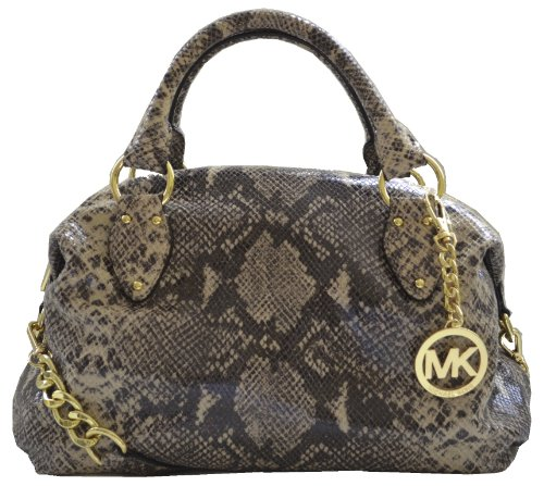 Michael Kors Dark Sand Snakeskin Leather Item Satchel Shoulder Bag Handbag