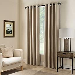 Gorgeous Home *DIFFERENT SOLID COLORS & SIZES* (#72) 1 PANEL SOLID THERMAL FOAM LINED BLACKOUT HEAVY THICK WINDOW CURTAIN DRAPES BRONZE GROMMETS (TAUPE TAN, 84\