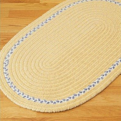 "Chenille Accent Stripe Yellow Kids / Juvenile Bath Rug Size: Oval 22"" x 34"""