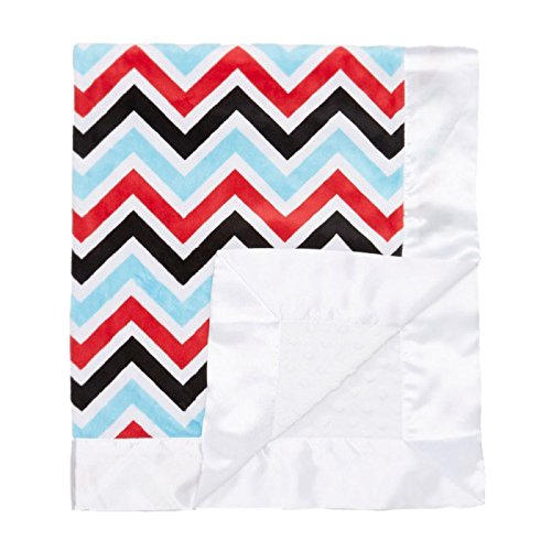 "My Blankee Chevron Minky Multi Red w/ Minky Dot White Baby Blanket, 30"" x 35"""