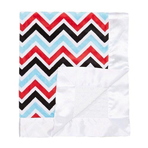 "My Blankee Chevron Minky Multi Red w/ Minky Dot White Baby Blanket, 30"" x 35"""