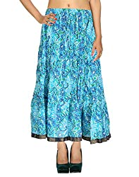 Dresses Casual Skirt Cotton Turquoise Floral Printed For Women By Rajrang