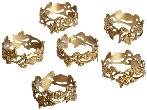 DII Brass Grapevine Napkin Ring, Set of 6