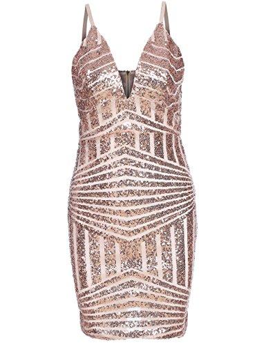 ROMWE Women's Sequin V-Neck Spaghetti Strap Bodycon Cocktail Dress Gold M