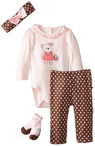 Vitamins Baby Baby-Girls Newborn Dressed Up Bear 4 Piece Creeper Pant Set, Brown, 3 Months