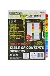 Kleer-Fax 11 x 9 x 3/20 Inches, 15 Tab Set, Index Pro - Table of Contents Dividers, One Set, Assorted Colors (71915)
