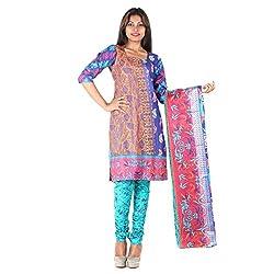 RangoliSF Woman's Cotton Unstitched Dress Material (RSFT1011 Blue)