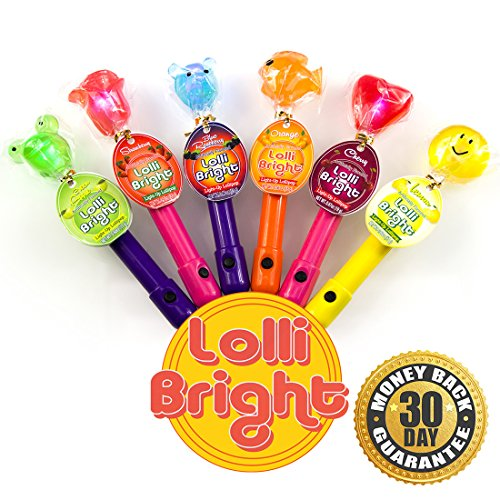 LOLLIBRIGHTS: America's First Color Changing Light-Up Lollipop! 6 Delicious Flavors; Green Apple Frog, Strawberry Rose, Smiley Lemon, Orange Goldfish, Blue Raspberry Bear, and Cherry Heart! (6) (Candy Stocking Stuffers For Kids compare prices)
