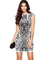 Lipsy White Dress Brocade Print with Velvet Detail Summer Wiggle Dress RRP £56