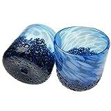 琉球ガラス/コバルトロックグラス 2個 ギフト箱入