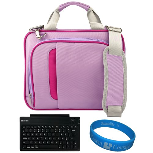 Purple Pink Messenger Carrying Bag With Removable Shoulder Strap For Coby Kyros Mid1042-8 10.1-Inch Android 4.0 8 Gb Internet Tablet + Sumaclife Bluetooth Wireless Keyboard + Sumaclife Tm Wisdom Courage Wristband