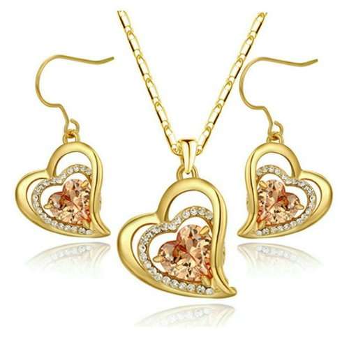 Yoursfs 18K Yellow Gold Plated Heart Pendant Topaz Earrings Necklace Jewelry Sets