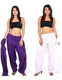 TEEJ Women's Multicolor Punjabi Plain Cotton Patiala Salwar With Dupatta Combo Of 02 Set