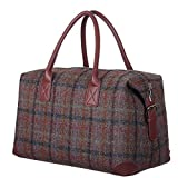 New Ladies Scottish Harris Tweed Russet Check Tartan Leather Holdall Travel Bag