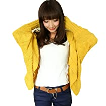 Keral Womens Girls Bat Wing Thick Loose Sweater Yellow