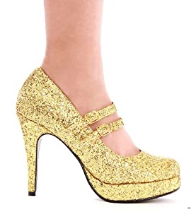 "Ellie Shoes E-421-Jane-G, 4"" Double Strap Glitter Mary Jane. from Ellie Shoes"