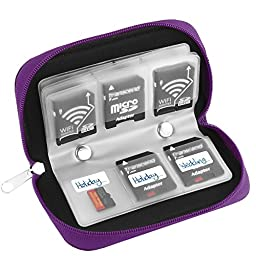 Simtyso® Micro SD Memory Card Carrying Case in Purple Color