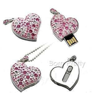 GENERIC 1pc USB2.0 Flash Memory Drive Colorful Shiny Rhinestones Pink Heart Flash Disk # 7378