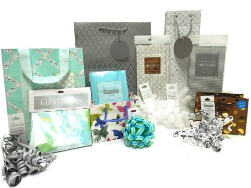 The Gift Wrap Company Elegant Occasions Gift Bag, Tissue and Bow Set