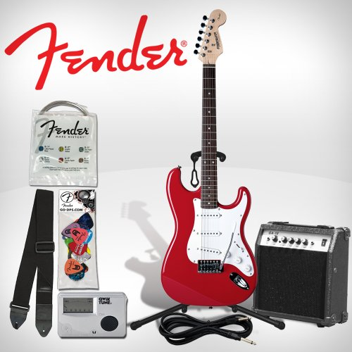Fender M-STRAT-RD Starcaster Electric Guitar Kit - High-Gloss Red