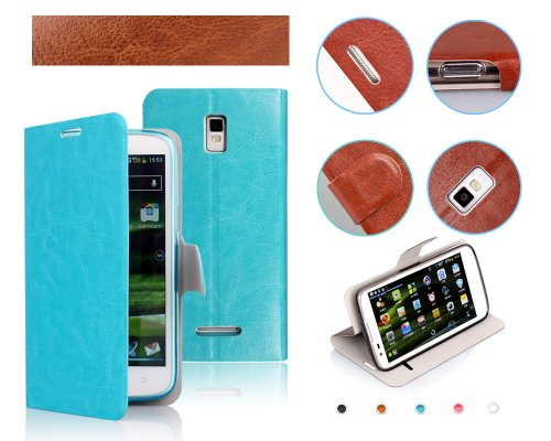Lanzero Lenovo K900 Snap-on Thin Side Flip(Stand/Id Card Slot/magnetic Closure) Premium Pu Synthetic Leather Cover Case with FREE Ultimate Clear Plus Screen Protector For Lenovo K900 (Light Blue)