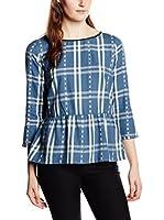 Tom Tailor Denim Blusa feminin check blouseshirt/510 (Azul Océano)