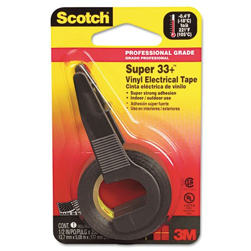 Scotch - Super 33+ Vinyl Electrical Tape w/Dispenser, 1/2 x 200 Roll, Black 194NA (DMi RL manual tape dispenser for gummed tape w 48oz reservoir steel blades black sold as 1 each