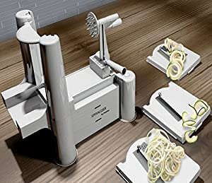 Spiralizer By Palermo- Voted the Best Vegetable Maker, Spiral Slicer, Peeler, Shredder, Cutter and Chopper You'll Ever Use. Makes Zucchini Noodles, Veggie Spaghetti, Pasta, French Fry and Julienne & Mandoline Cut Vegetables in Minutes. 100% Risk Free with