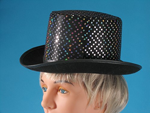 Loftus International Silver Dots Magician Sparkly Top Hat, Black, One Size
