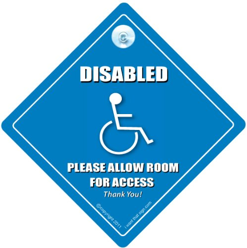 DISABLED PLEASE LEAVE ROOM FOR ACCESS Car Sign, Disabled Car Sign, Disabled Driver Car Sign, Disability Car Sign, Mobility Car Sign, FREE UK Postage, Disabled Sticker, Wheelchair User Car Sign