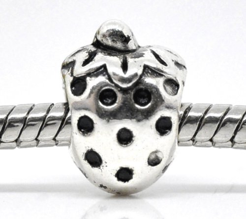 Silver Tone Strawberry Fruit Bead Charm Spacer