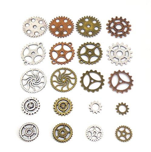 20 pcs Gears Cogs Antiqued Copper, Brass & Silver for Crafting Steampunk Jewelry & Altered Art