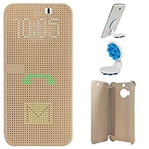 DMG Dot View Interactive Flip Cover Case for HTC One M9 Plus (Gold) + Octopus Mobile Phone Holder Stand